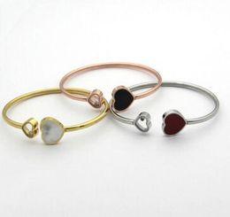Wholesale Ring Shaped Bracelet - stainless steel Black and white heart-shaped bracelet heart-shaped opening rose gold bracelet