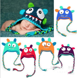 Wholesale Hand Knitted Kids Hats - The new 2016 Cute monster style hat Infant Hats Kids Cap Fashion Hand Knitted Caps Boys Girls Wool Cap Baby Crochet Hats Children Caps