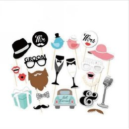 Wholesale Funny Photos Women - Funny 22pcs lot Single Woman Series Handheld Mask Props Photo Microphone Beard Car On A Stick Birthday Party Favor Photo Masks