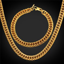 Wholesale 9mm Stainless Steel Necklace - U7 9MM New Chunky HipHop Gold Chain Necklace Bracelet Men Jewelry 18K Gold Black Gun Plated Stainless Steel African Ethiopian Jewelry Set