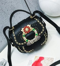Wholesale Black Diamond Package - wholesale brand new package rivet saddle bag fashion color diamond woman handbag quality leather handbag retro diamond single shoulder bag