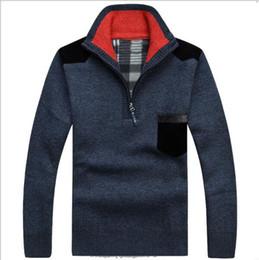 Wholesale Turtle Neck Men Knitwear - New Hot SaleMen's Sweaters Thick Warm Winter Zipper Pullover Cashmere Wool Sweaters Man Casual Knitwear Fleece Velvet Clothing Big Size XXXL