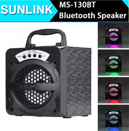 Wholesale High Output Led Lighting - wholesale MS-130BT Protable Wireless Bluetooth Speakers High Power Output LED Light Subwoofer Super Bass Music Outdoor Speakers FM Radio