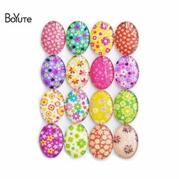 Wholesale Cabochon Images 14mm - BoYuTe Floral Ornament Oval Glass Stones Mix Oval 10*14MM 13*18MM 18*25MM 30*40MM Flower Cabochon Diy Handmade Image Glass Cabochon