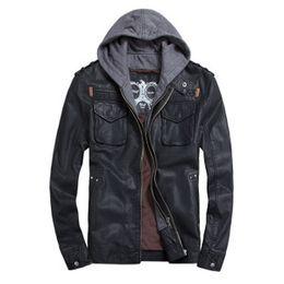 Wholesale Hoody Leather Jackets - Wholesale- Black Brown Faux Leather Jacket Men  PU Leather Hoody Moto Jacket Man  Bomber Motorcycle Jacket Hoodie