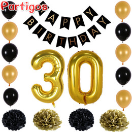 Wholesale Christmas Garland Photos - Happy Birthday Paper Black Banner Garland Paper Flower Number 30Gold Latex Balloons Photo Background Party Home Birthday Decor