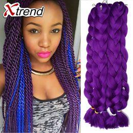 Wholesale Crochet Best - Xtrend best sale 42'' 165g ombre braiding hair for box braids hair Kanekalon Braid Crochet solid color straight hair extension