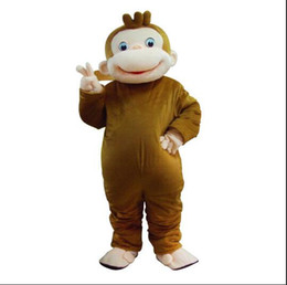 Wholesale Curious George Monkey Mascot Costume - New Style Curious George Monkey Mascot Costumes Cartoon Fancy Dress Halloween Party Costume Adult Size Free Shipping