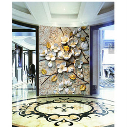 Fiori moderni viventi di carta da parati online-Carta da parati Home Decor 3d arte murale HD stile europeo classico fiore che copre la pittura murale moderna per soggiorno carta da parati