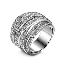 Wholesale high quality cz wedding rings - 2017 New Arrival Luxury Fashion Jewelry 10KT White Gold Filled High quality 5A CZ Zirconia Women Wedding Engagement Band Ring Gift Size 5-9