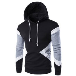 Wholesale Mens Hoddies - Mens Hoodies 2016 New Winter Pullovers Leisure Patchwork Colors Fashion Sweatshirts Hooded Coats Hoddies Sweat Homme 9237