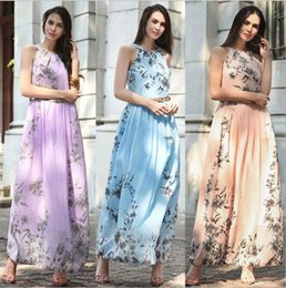 Wholesale Ladies Floral Prom Dress - Top Selling US Maxi Dresses Long Gowns Women Summer Beach Floral Print Vintage Chiffon Ladies Skirts 2017