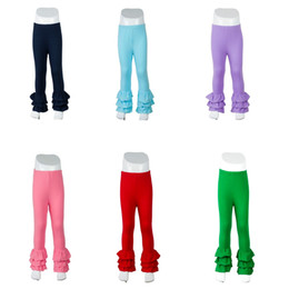 Wholesale Red Leggings 3t - Baby girls 100% cotton solid colors icing ruffle pants kids icing leggings nruffle trousers wholesale free shipping