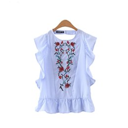 Wholesale Cut Out Back Shirt - women sweet ruffles floral embroidery beading shirts sleeveless back cut out blouse casual European style tops