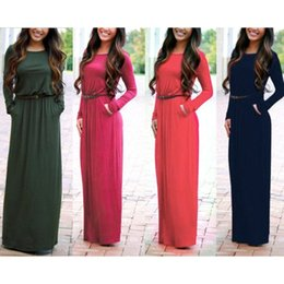Wholesale Round Neck Belted Dress - 2017 Gold Hands 5 Colors-Women Autumn Waist Dress Round Collar Pocket Long-Sleeved Pullovers Dress S M L XL Free Belt And DHL Shipping