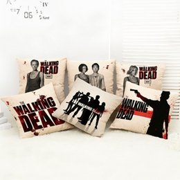 Wholesale Pillow Walks - Pattern Pillow Case The Walking Dead Throw Decorative Pillow Cover Linen Pillowcase Chair Square Waist Cushion Cover Home Textile House Sofa