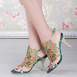 Wholesale Wedding Heel Gold Strap Diamonds - Casual Shoes Summer 2016 New Bohemian Sexy Handmade Rhinestone Diamond Thick With High Heeled Sandals Wedding Party XK5