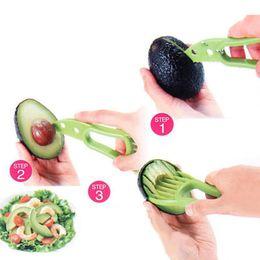 Wholesale Fruit Pitter - Avocado Slicer Multi-functional Fruit Cutter Knife 3-IN-1 Avocado Slicer With Knife Pitter Peeler And Scoop Kitchen Gadgets Tool LJJO3687