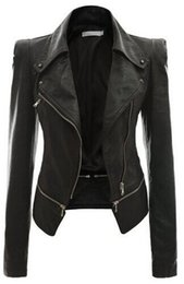 Wholesale Biker Jacket Black Women - Zmario Women Ladies Zipper Slim Biker Motorcycle PU Leather Jackets Punk Rock Cool Coats Free Sgipping