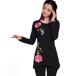 Wholesale Short Floral Embroidery - Wholesale-Black And White Round Neck Long Sleeve Basic T Shirt Autumn New Fashion 2016 Plus Size Women Peony Embroidery Tops