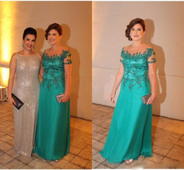 Wholesale teal mother bride - Teal Green Mother of the Bride Dresses for Weddings Lace Crystal Pleat Plus Size Mother off The Groom wedding guest Evening Gowns Wear