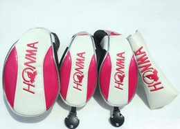 Wholesale Ladies Head Cover - High Quality HONMA BERES Pink Women golf club headcover set driver fairway putter head cover lady golf wood 1 3 5 club protection