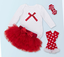 Wholesale Legging Skirt Sets - baby clothes christmas set infant long sleeve jumpsuit romper + ruffle tutu skirt red + polka dot leg warmers + headbands boutique outfits