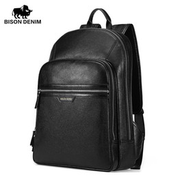 Wholesale Large Leather Laptop Backpacks - Wholesale- BISON DENIM High Quality Genuine Leather Large Backpacks Mens Laptop Bag Daypack black business Casual Backpack ipad bags 2337