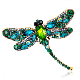 Wholesale Dragonfly Brooch Wholesale - Jewelry Blucome Green Dragonfly Brooches Corsages Jewelry Shining Crystal Vintage Brooch Crystal Big Broches Scarf Clothes Hijab Pins