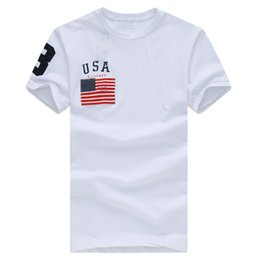 Wholesale Red Sleeve For Men - Free shipping 2017 High quality cotton new O-neck short sleeve t-shirt Fahion brand men T-shirts casual Flag for sport men polo T-shirt
