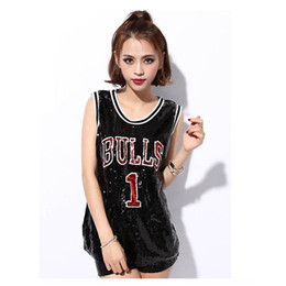 Wholesale Girls Dance Costume Dress Sequin - Women Stage Performance Tops Sequined Letter Sexy Girl Hip Hop clothing Sleeveless Female Costumes Loose jazz Dance Long Shirts