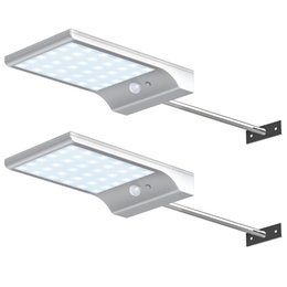Wholesale Outdoor Wall Mount Lighting - 36 LED Solar Gutter Lights Wall Sconces with Mounting Pole Outdoor Solar Motion Sensor Detector Light Security Lighting LED Wall Lamps