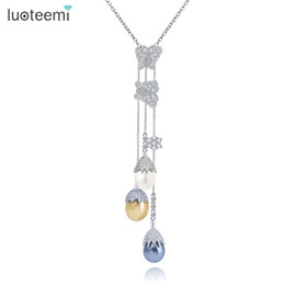 Wholesale White Shell Flower Necklace - LUOTEEMI New Elegant Long Chain Pearl Necklace 3pcs Sea Shell Pearls with CZ Flower Pendant Necklace Women Jewelry Wholesale