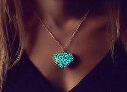 Wholesale Hollow Heart - Heart Shaped Pendant Necklace Luminous Pendants in Dark Hollow out Type Heart Glow Pendants Necklace Hot Sale