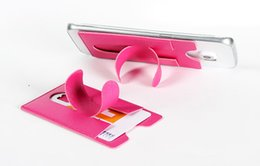 Wholesale Apple Shaped Iphone Stand - Hotselling touch-u shape universal lovely Mini PU material phone holder stand with card slot for cell phone