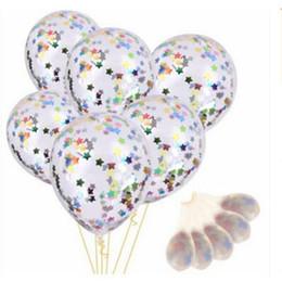 Mezcla de globos de aluminio online-Fiesta decorada con globo de papel de aluminio globo mágico de 12 pulgadas Lentejuelas de látex de color mezclado Filled Clear Balloons Kids Toys F1029