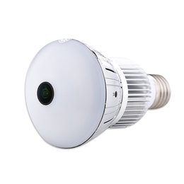 Wholesale Light Bulb Dvr Camera - HD 5.0MP WIFI bulb light Camera Wireless IP Camera Bulb Lamp Fisheye Panoramic Surveillance Camera home Security DVR with Motion Detection