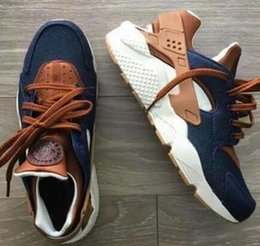 Wholesale Id Lace - 2017 New Huarache ID Custom Breathe Running Shoes Men Women Navy Blue Tan Air Huaraches Multicolor Denim Huarache Sneakers Athletic Trainers