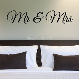 Wholesale Tinkerbell Decal Stickers - tinkerbell Hot MR AND MRS Married Wall Art Decal Home DIY Decoration Decor Wall Mural Removable Bedroom Stickers 29X144cm