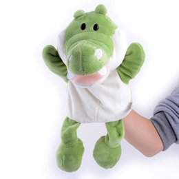 Wholesale Toy Hippo Gifts - Wholesale-New Arrival Hand Puppets Cute Plush Cartoon Hippo Deer Velour Animals Hand Puppets for Kid Gifts Learning Aid Toy Wholesale