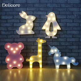 Wholesale Touch Battery Led Lamps - DELICORE 3D Animal Night Lights Unicorn Bear Marquee LED Battery Nightlight Desk Night Lamp For Baby Kids Bedroom Decoration M05