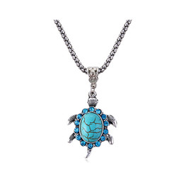 Wholesale Tibetan Jewelry Turquoise Pendant Necklace - Tibetan Silver Tone Turquoise Turtle Necklace Natural Stone Jewelry Christmas Gift For Women N1879