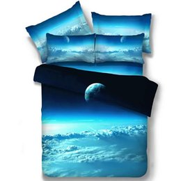 Wholesale Double Set 4pc - Wholesale- Amazing Fashion 3D Sunrise Clounds Blue 4Pc Single Twin Full Double Queen Size Bed Quilt Duvet Cover Set Sheet Shams Space Sky