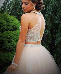 Wholesale Red Sex Sexy Pictures - 2017 Fashion sex cocktail dress two piece halter beading backless short lace Homecoming prom Dresses and Graduation Girls Custom Made