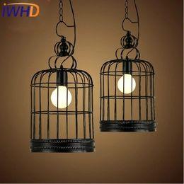 Wholesale Vintage Bird Lamp - Wholesale- IWHD Iron Led Pendant Light Fixyures Style Loft Vintage Industrial Retro Lights Bird Cage Hanging Lamp Black Kitchen Lamparas
