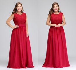 Wholesale Embroider Chiffon Evening Dress - Red A Line Chiffon Lace Top Plus Size Special Occasion Prom Dresses Zipper Back Floor Length Evening Gowns Cheap Women Wear CPS489
