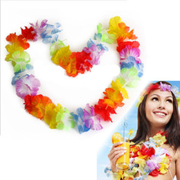 Wholesale Beach Theme Party Decorations - Wholesale-10Pcs NEW Hawaiian Colorful Leis Beach Theme Luau Party Flower Necklace Garlands For Party Decoration