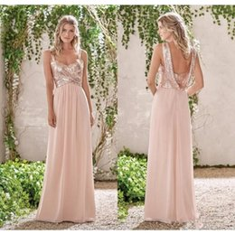 Wholesale Chiffon Backless Wedding Gown - 2017 New Rose Gold Bridesmaid Dresses A Line Spaghetti Straps Backless Wedding Party Dress Sequins Beach Chiffon Maid of Honor Gowns