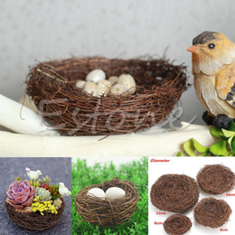 Птица гнездо украшения онлайн-Wholesale- Handmade Vine Brown Bird Nest House Home Nature Craft Holiday Decoration New
