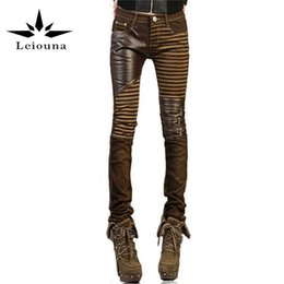 Wholesale Cotton Feet - Wholesale- Leiouna High Quality PU Leather Women Plus Size 2017 Fashion Casual Pants Feet Denim Jeans Boot Cut Skinny Pencil Boyfriend
